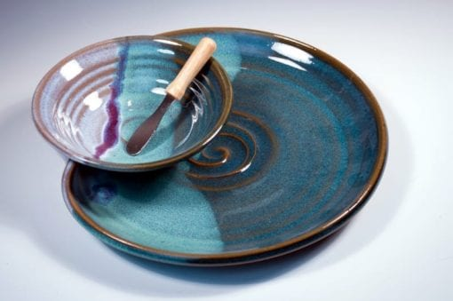 PLATE WITH ATTACHED BOWL