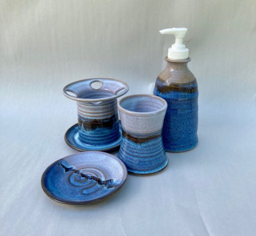 Bathroom cup soap saucer toothbrush older pump blue