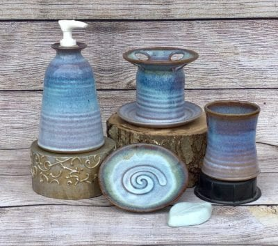 bathroom set, pump, toothbrush holder pottery blue
