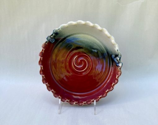 Red Deep dish pottery pie plate salvaterra pottery