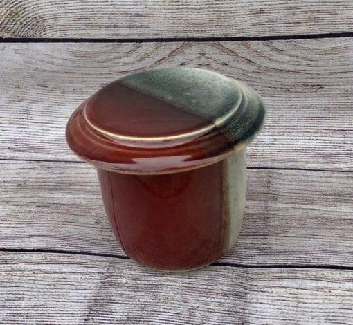 Handmade French butter keeper , butter bell , red