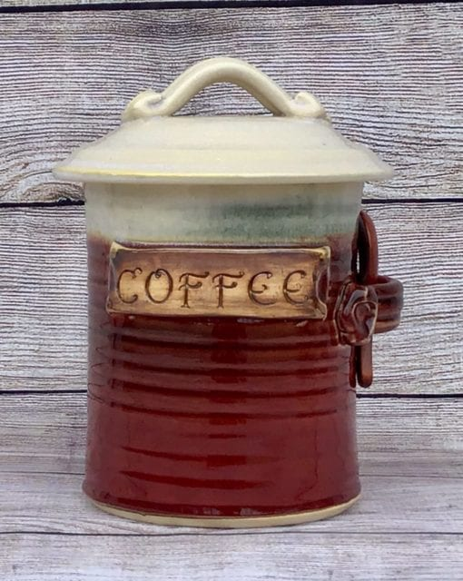 coffee canister red pottery