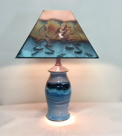 pottery lamp blue handmade