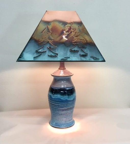 pottery lamp blue handmade