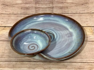 chip and dip platter in Mist by salvaterra pottery
