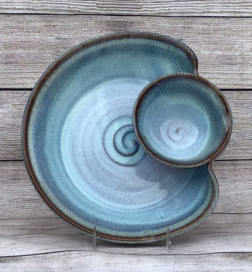 chip and dip salvaterra pottery blue