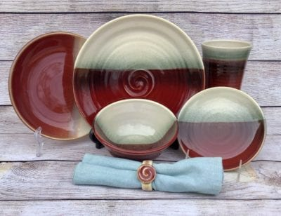 red dinnerware placesetting salvaterra pottery handmade