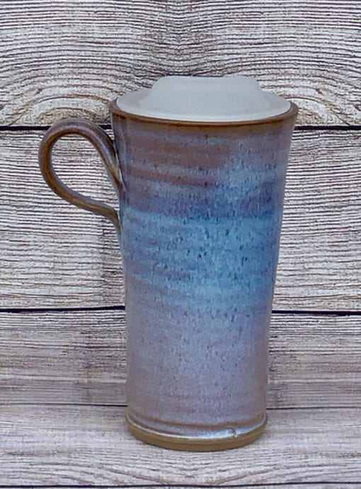 Blue pottery travel mug salvaterra pottery