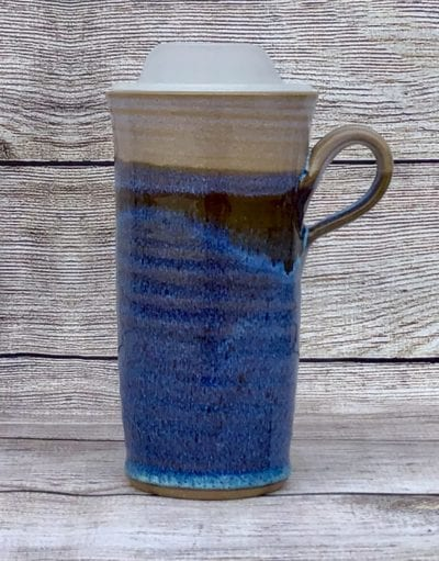 Blue travel mug salvaterra pottery