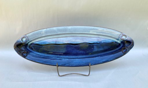 Handmade oval pottery bread tray blue
