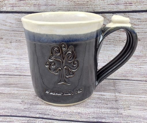 Black custom logo pottery mug