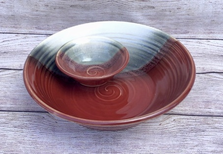 2 piece chip and dip handmade pottery red