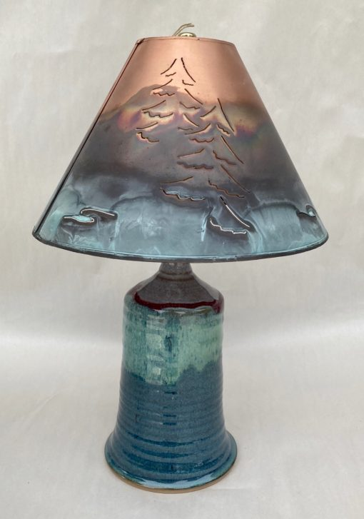Small Pottery Lamp Green