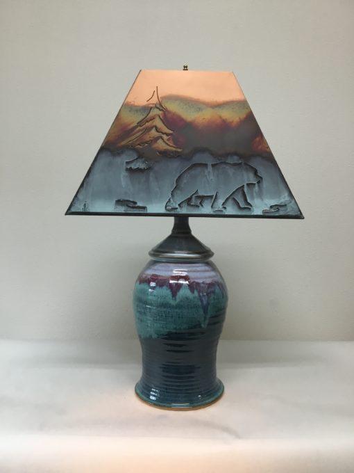 Teal green handmade ceramic lamp
