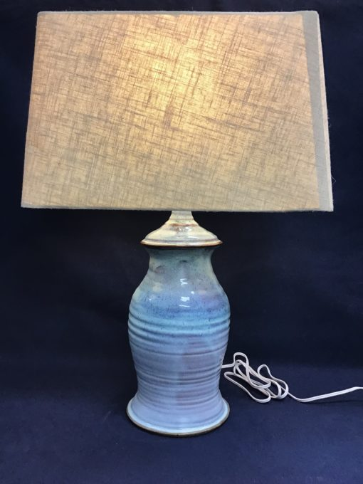Pottery electric lamp blue