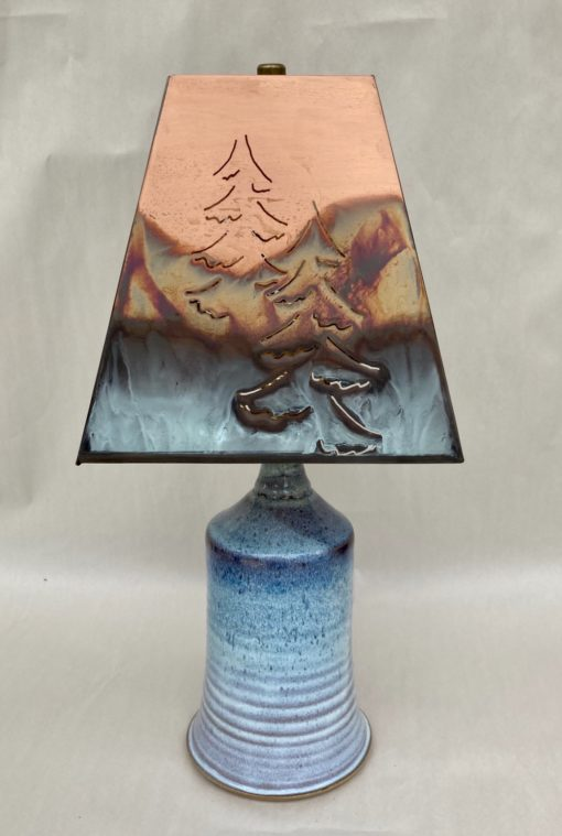 Blue pottery lamp