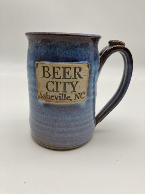 Blue Asheville Beer Pottery Mug