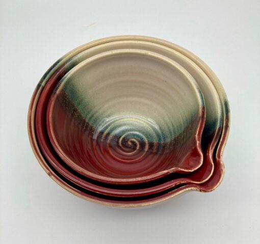 Nested Red Horizon Mixing Bowl Set